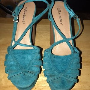 Teal/ turquoise platform shoes